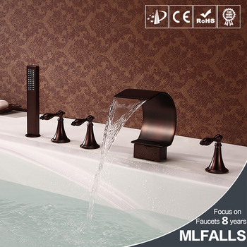 Mlfalls Brands Waterfall Spout Oil Rubbed Bronze Antique Deck Mount Shower Faucets Install For Bathtub