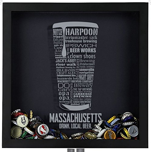 Beer Cap Shadow Box, Massachusetts Typography
