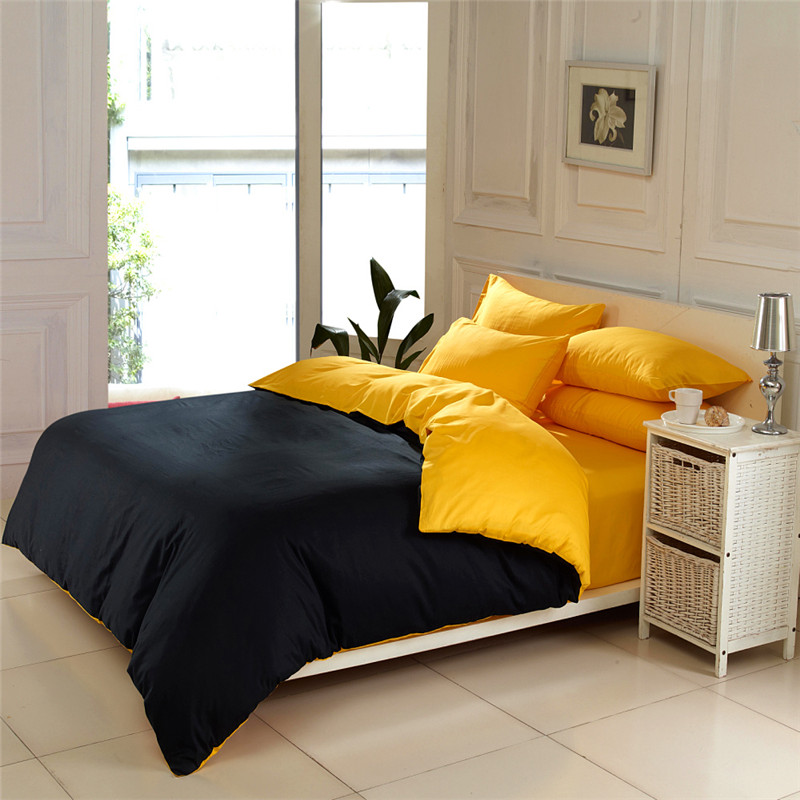 Solid color home textile black and yellow 4pc queen king ...