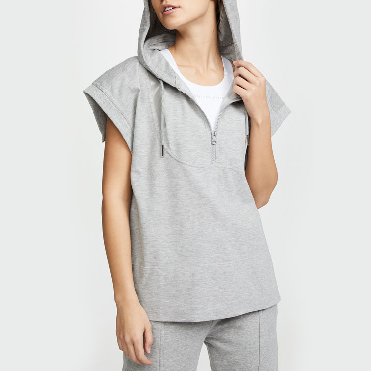 100% cotton custom drawstring workout blank fitness gym grey girls sleeveless hoodies
