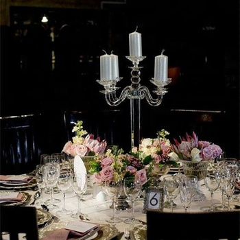 70cm tall crystal wedding candelabra table 5 arms glass tea light candle holder