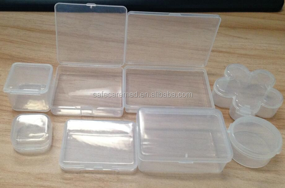 1 Layer Small Size Packaging Clear Lid Plastic Storage Container Small  Hinged Lid Box