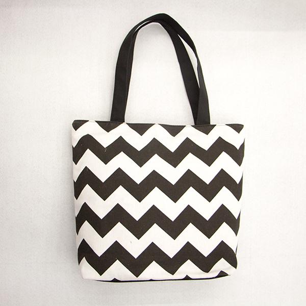 Product Description Black And White Zig Zag Print Canvas Chevron Tote Bag Whole