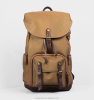 high quality hot sale custom fashion canvas leather laptop backpack bag