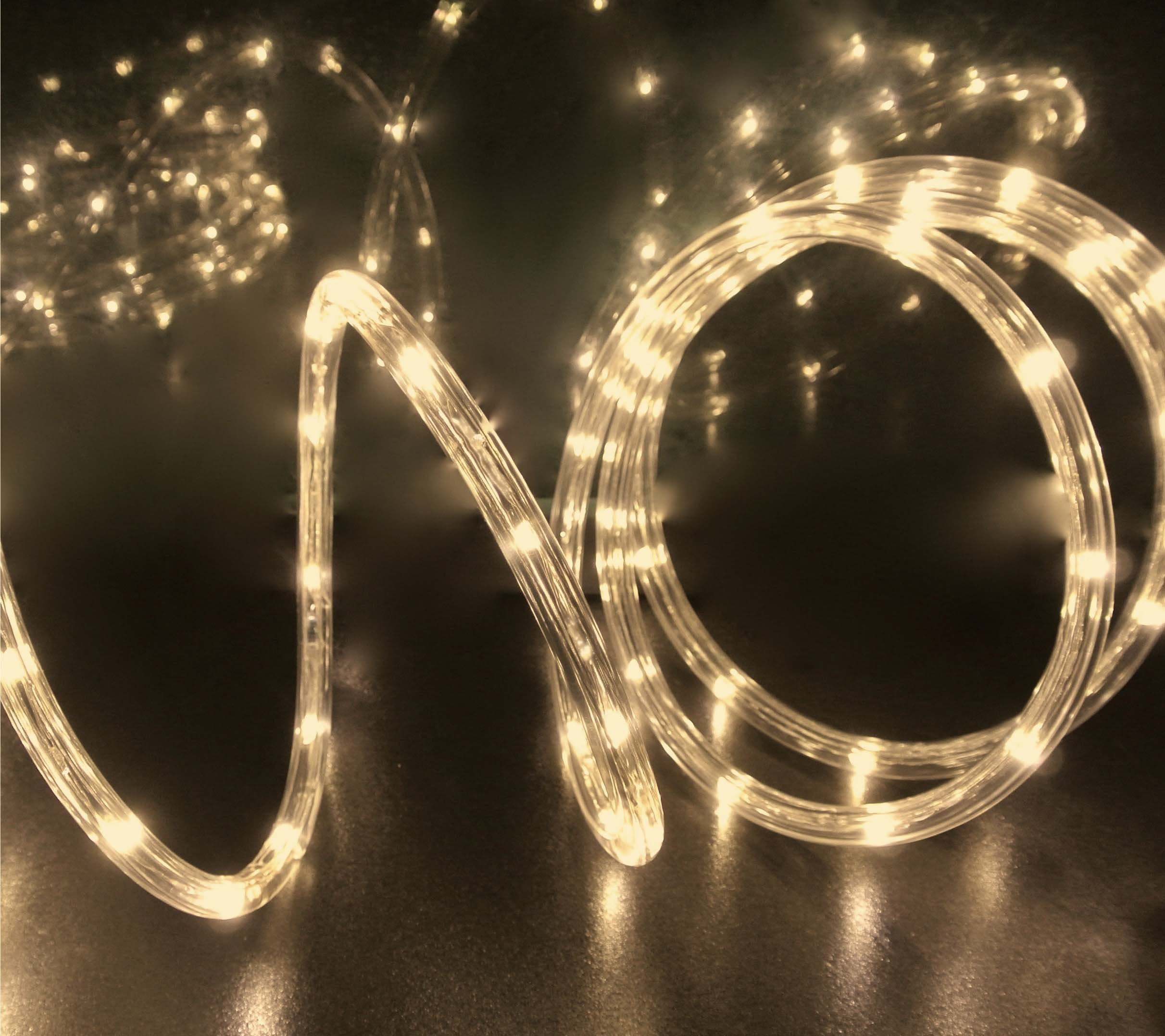 Izzy Creation 18FT Warm White LED Flexible Rope Lights Kit For Indoor / Outdoor Lighting, Home, Garden, Patio, Shop Windows, Trees, New Year, Wedding, Party, Event