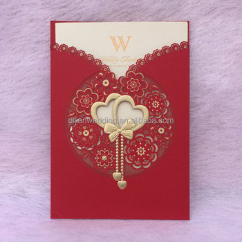 Laser Cut Double Heart Design Chinese Wedding Invitation Card Buy