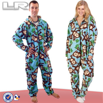 Monkey Pattern Plus Size Adult Couple Onesie Pajamas - Buy Couple ...