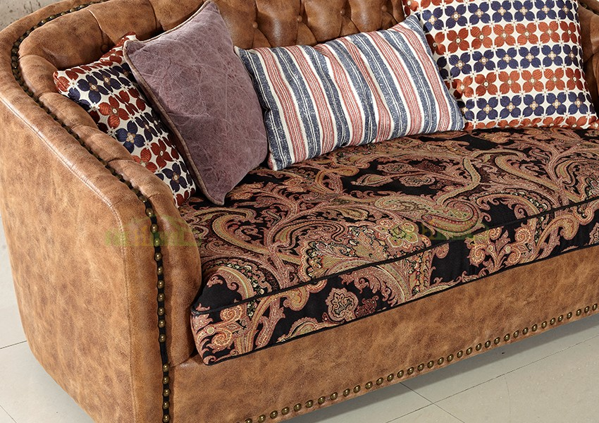 Guangzhou Furniture Living Room Brown Belgium Leather