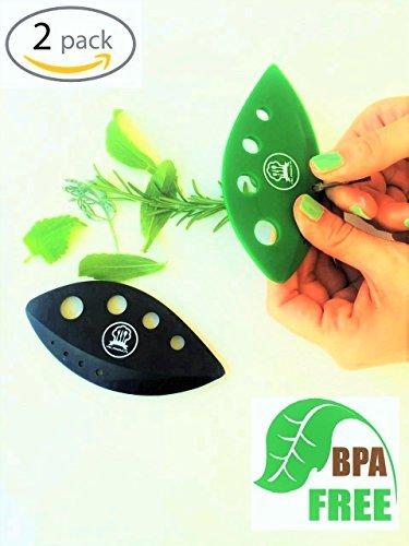Herb Stripper Tool - Kale,Chard,Taragon,Thyme,Collard Greens with plastic edge shear knife to chop herbs 2 Units in Set + Bonus Best Secret Recipe Best vegetable kitchen gadgets BY ML.PRODUCTS