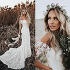 Elegant Boho Lace Mermaid Wedding Dresses Off Shoulder Short Sleeves Bridal Dresses Beach Wedding Gowns With High Quality Lace