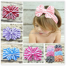 Hot sale big cotton bow headband lovely bowknot kids headwraps baby girl stripe headband many colorsWH-1352