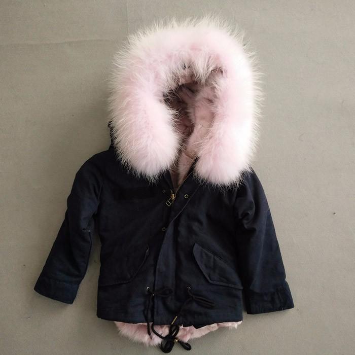 0d7bc9d56 Myfur Cute Girls Pink Raccoon Fur Hooded Fox Fur Lining Cotton Waterproof  Parka Jackets for Kids