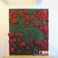 Green Plant wall with flower Backdrop Artificial rose plastic grass Wedding decorative