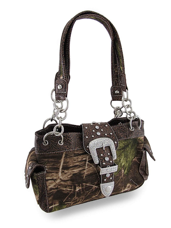 a70b204d7b69 Get Quotations · Polyester Womens Handbags Camouflage Rhinestone Western  Buckle Purse