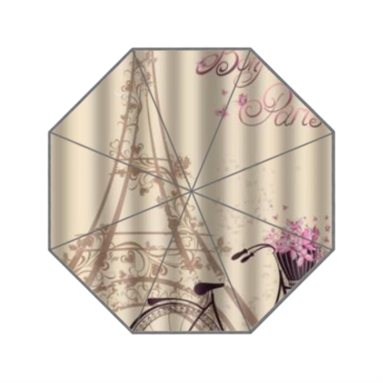 9af474d05830d Get Quotations · Custom Frech Paris Eiffel Tower City of Love Retro  Classical Custom 3 Folding Umbrella Rain Sunscreen