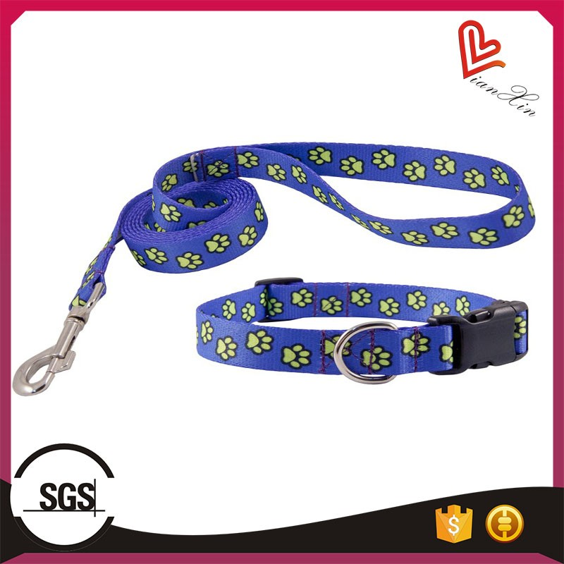 cheap custom logo printed name brand dog collar and leashes