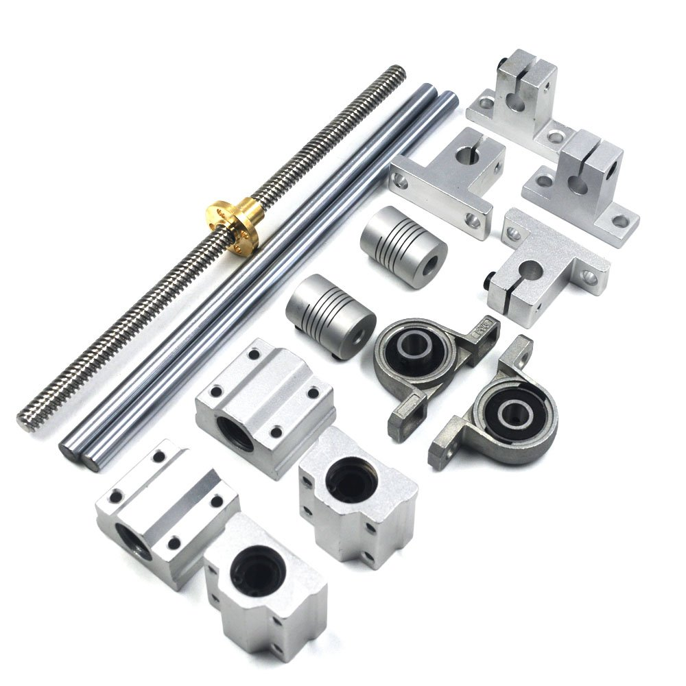 Mergorun 200mm Horizontal Optical Axis & 8mm Lead Screw Dual Rail Shaft Support Pillow Block Bearings & Flexible Shaft Coupling for digital coordinate measuring equipment Set of 15