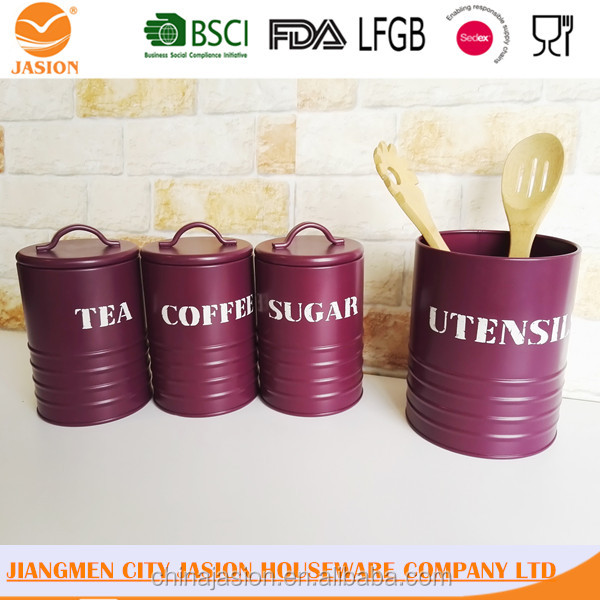 Kitchen Metal Round Iron Coated Airtight Food Storage TEA COFFEE SUGAR Canister Jar Set