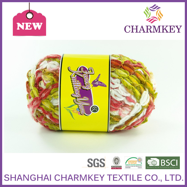 2016 charmkey soft and feeling tape yarn for hand kniitng for scarf