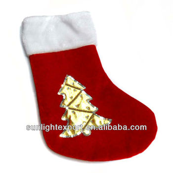 Promotional Plain Felt Christmas Stocking Santa Socks With Gold Xmas Tree