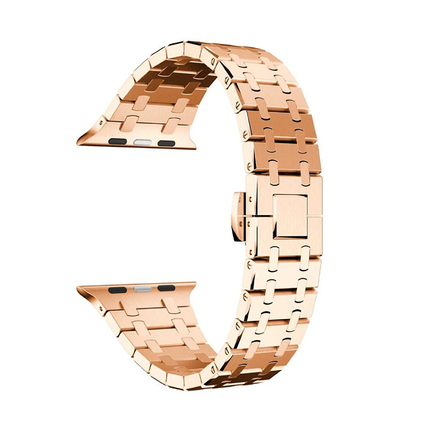 Owill Durable Comfortable Genuine Stainless Steel Watch Bracelet Band Strap For Apple Watch Series 1/2 38MM Watch, Fits Wrist 135-195mm (Rose Gold)