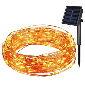 solar powered outdoor decoration lights led copper wire string lights wedding party garden lights