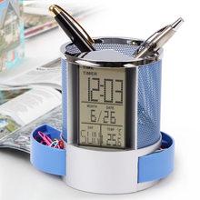 Многофункциональная ручка карандаш держатель цифровой календарь будильник время темп функция металлическая сетка для домашнего стола офи...(Китай)