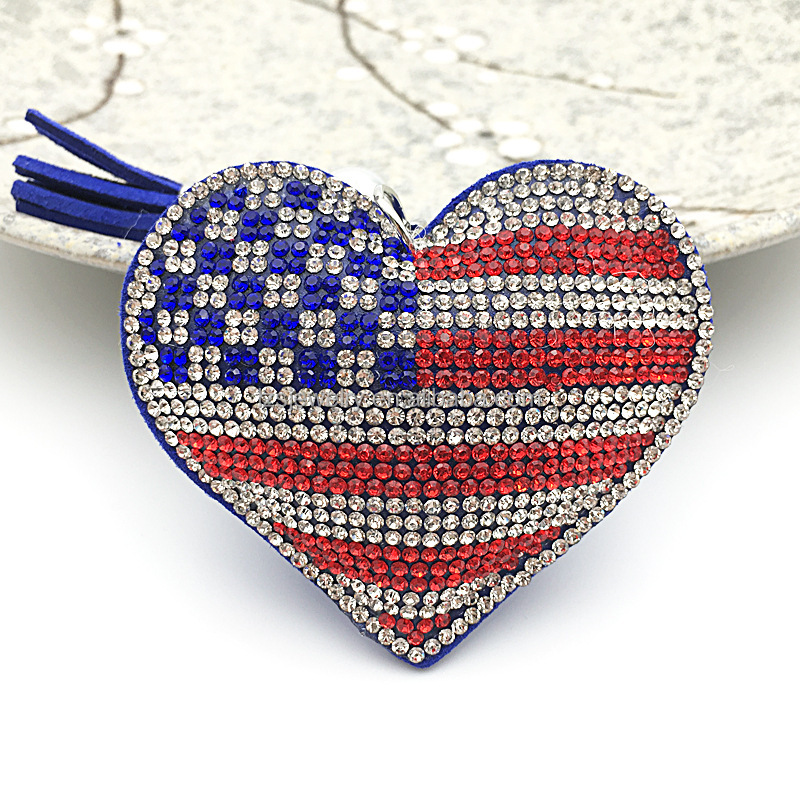 Wholesale Keychain Heart Flag Design Leather Rhinestone Keychain Leather Tassel Car Accessories