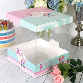 BAKEST 6 Inch Pastoral Style Birthday Cake Packaging Box Small High Rise PVC Clear
