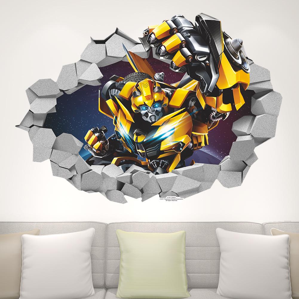 Cartoon 3D Bumblebee Transformers Decal Break Wall Sticker