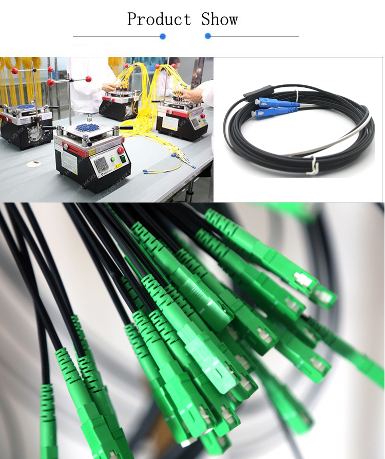 Outdoor Steel Wire Messager Fiber Optic SC Flat Drop FTTH Patch Cord Cable