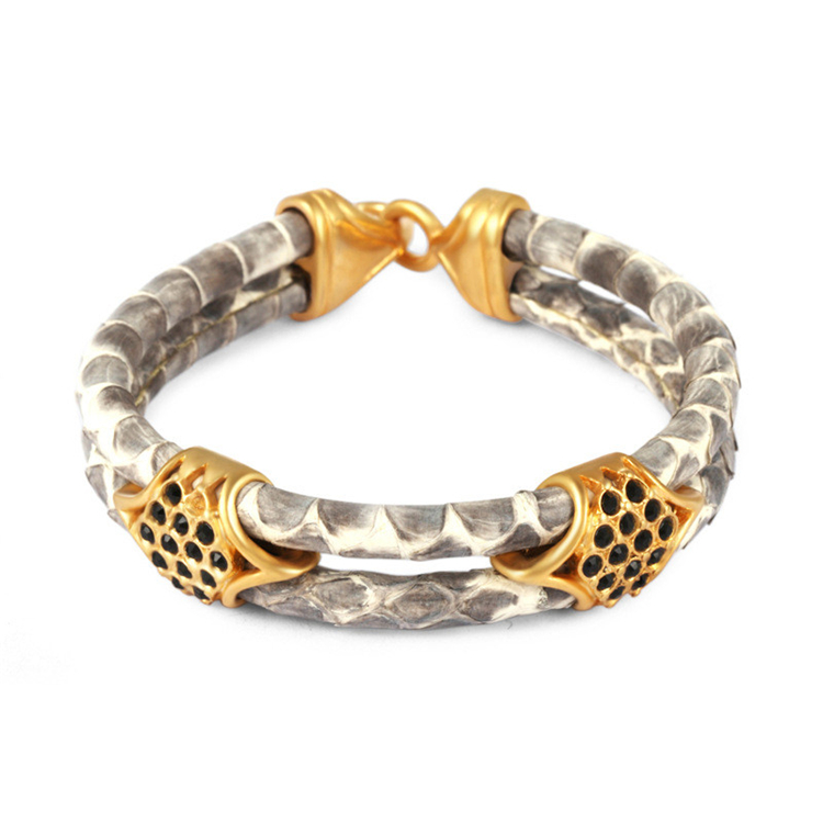 European Fashion 18K Gold Stainless Steel Python Leather Bracelet Pave Cubic Zirconia Genuine Python Skin Bracelet