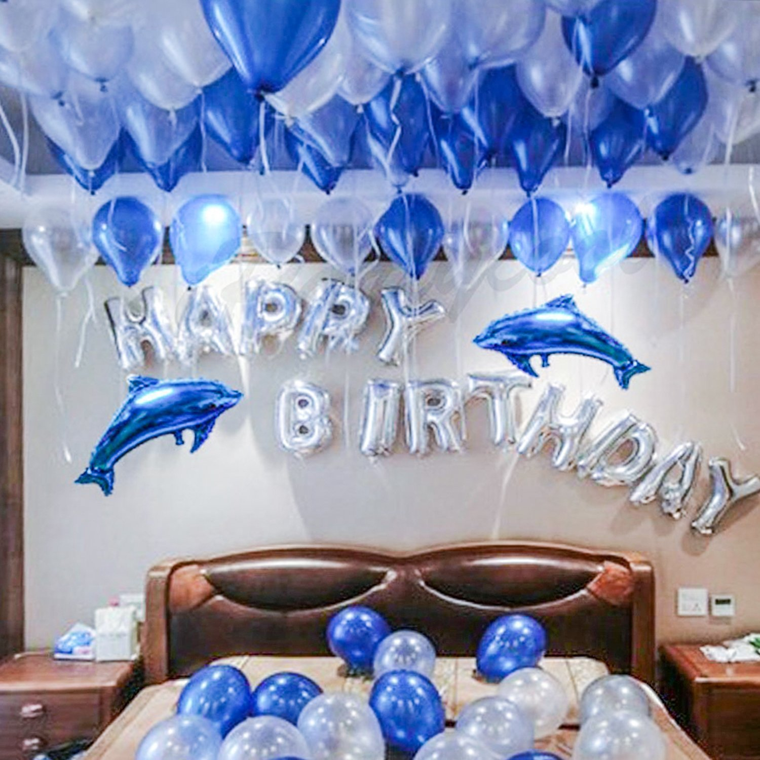 Get Quotations BESTTY Happy Birthday Balloons 100 Pcs Blue Party Decorations All In One