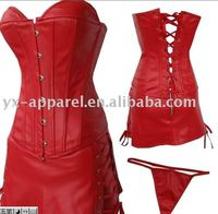 2014 gothic plus size pu corset dress