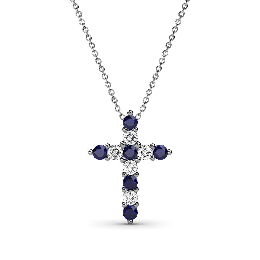 Petite Blue Sapphire & Diamond (SI2-I1, G-H) Cross Pendant 0.36 ct tw in 14K Gold with 14K Gold Chain