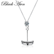 [BLACK AWN] 925 Sterling Silver Necklaces Fine Jewelry Trendy Natural Anchor White Chain Pendant Necklace for Women Gift P018