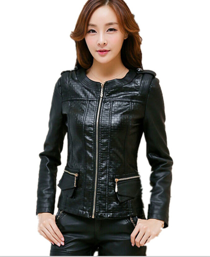 casual jackets leather women women's clothing black coats leather Motorcycle leather coat plus size M-5XL O-Neck new clothes