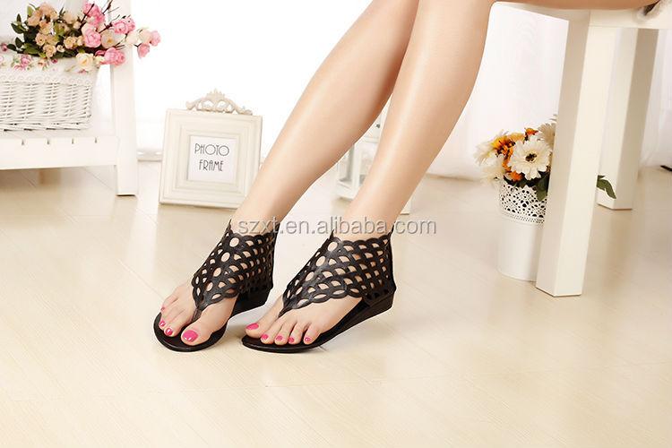 Latest Design Slipper Sandal Ladies Flat High Heel Sandal Low ...