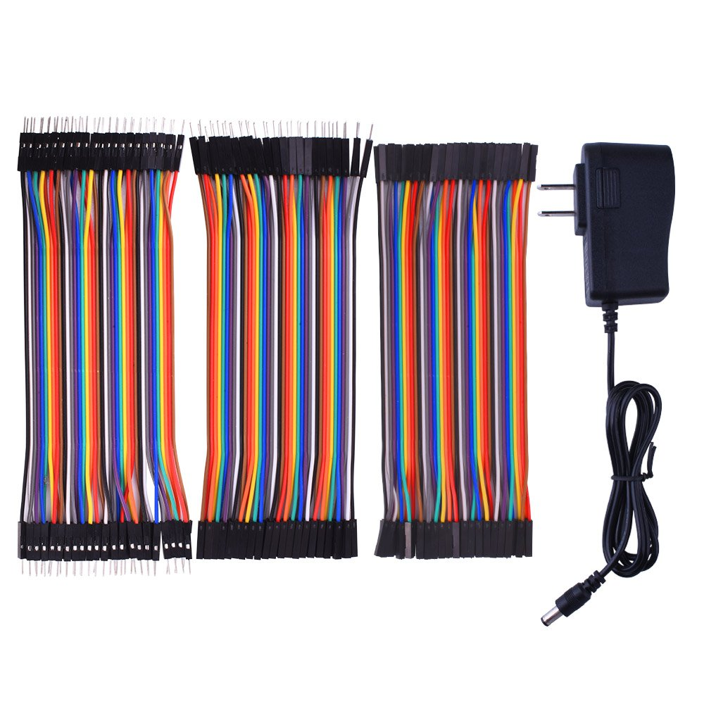for Arduino starter kit Kuman Power Supply Wall Adapter 9V AC to DC 1A + 120pcs Multicolored Jumper Wires Ribbon Cable 40pin Male to Female 40pin Male to Male 40pin Female to Female K72