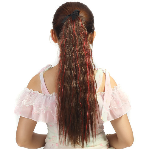 1pc pop 2015 curl pony tail hairpiece synthetic ponytail hair extension,small wave long ponytails hair extension