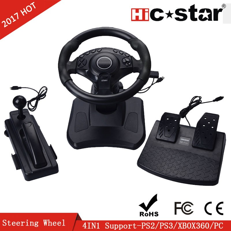 Video Game Racing Steering Wheel For PS2 PS3PC 4 IN 1 Racing Wheel for waterproof xbox 360 games controller steering wheel