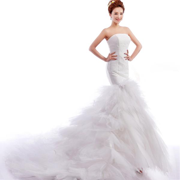 85ed2d50adb Get Quotations · White wedding dress Princess Bride sexy Bra straps  fishtail lace trailing wedding dress 2015 new free
