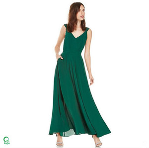 D585 Women Green Long Maxi Elegant Backless Chiffon Silk Dress