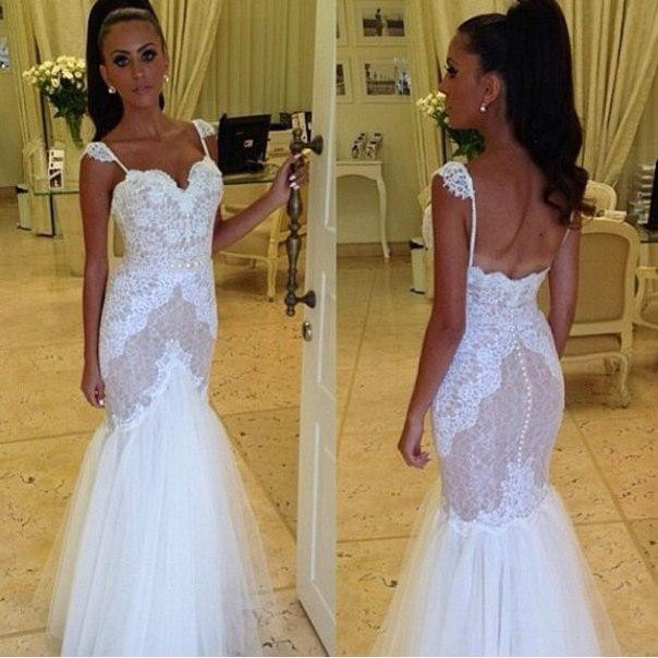 Lace Mermaid Wedding Gown With Tulle Skirt: 2015 Glamorous Lace Mermaid Wedding Dresses Spaghetti