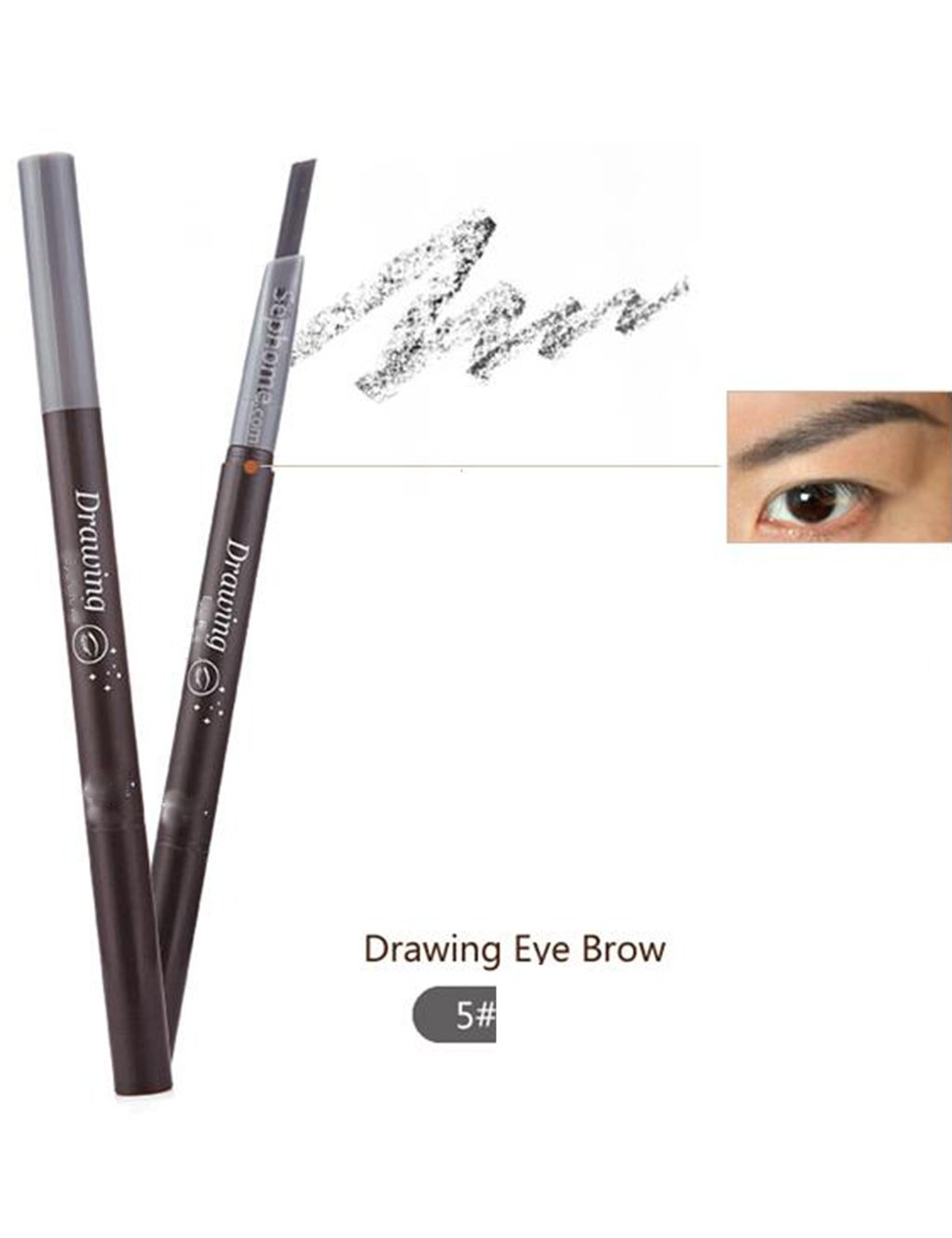 1 PC 5 Colors Women Lady Triangle Waterproof Eyebrow Pencil Eye Brow Pen With Brush Make-Up Tools (Gray)