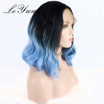 Blunt Cut Bob Black Blue Curly Weave Color Human Hair Wig