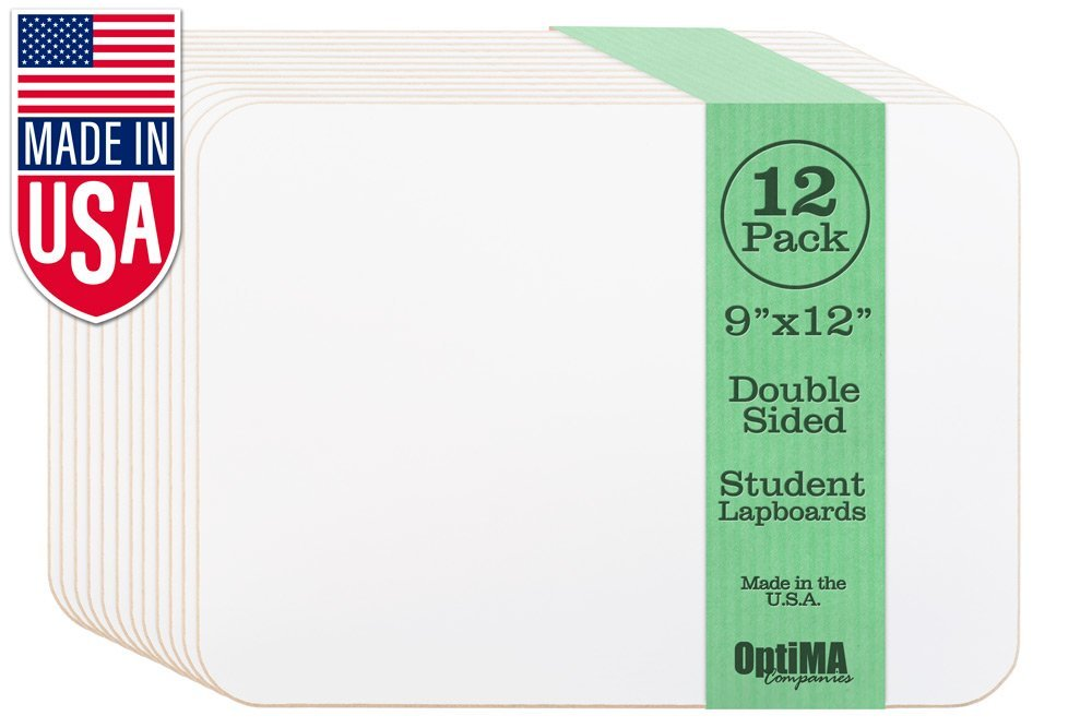 OptiMA 9x12 Double Sided Student Dry Erase Lap Boards (12 Pack)