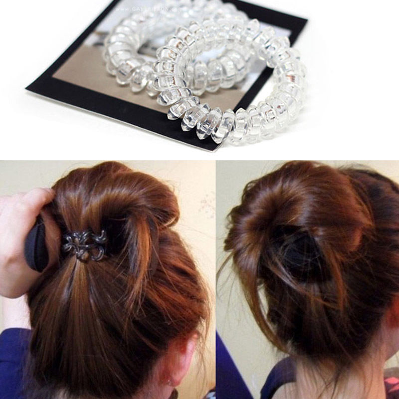 Women Ladies Girls New Clear Elastic Girl Rubber Telephone Wire ... 3ee0d24d435