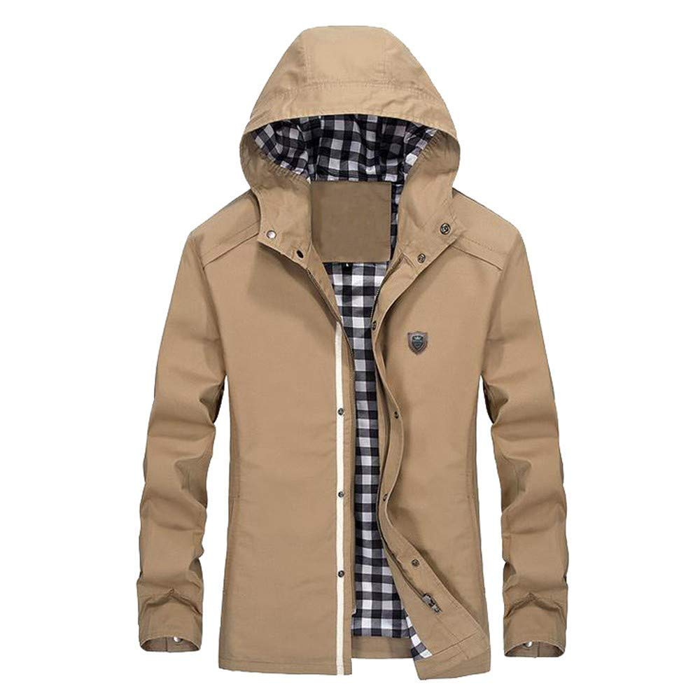 Zainafacai Men's Essential Hooded Windproof Jacket Work Outdoor Sports Waterproof Softshell
