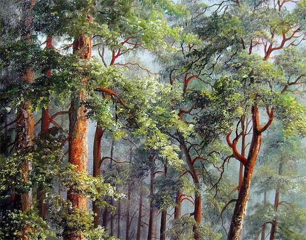 Indah Pohon Pinus Lukisan Minyak Di Atas Kanvas Desain